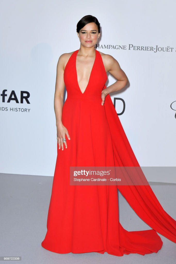 Michelle Rodriguez arrives at the amfAR Gala Cannes 2018 at Hotel du Cap-Eden-Roc on May 17, 2018 in Cap d'Antibes, France.