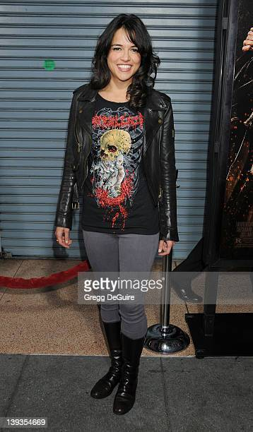 Michelle Rodriguez arrives at the Los Angeles Screening of 'Machete' at the Orpheum Theater on August 25 2010 in Los Angeles California