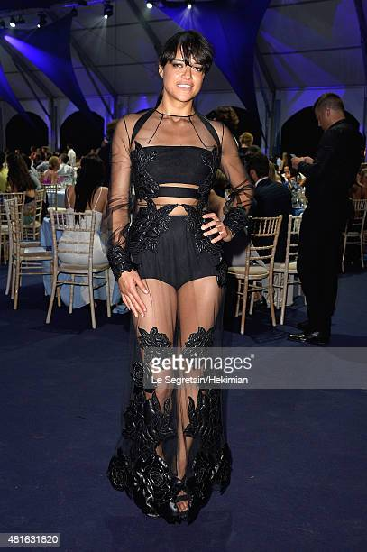 Michelle Rodriguez attends a dinner during The Leonardo DiCaprio Foundation 2nd Annual SaintTropez Gala at Domaine Bertaud Belieu on July 22 2015 in...