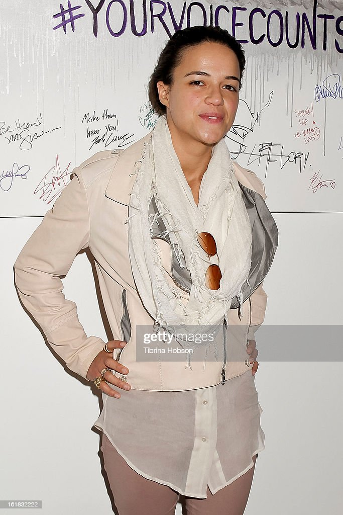 Michelle Rodriguez attends Linda's Voice joining with 'The Vagina Monologues' One Billion Rising Campaign at Voice's Unsilenced Live Art Auction at LAB ART on February 16, 2013 in Los Angeles, California.