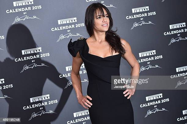 Michelle Rodriguez attends the 2015 Pirelli Calendar Red Carpet on November 18 2014 in Milan Italy