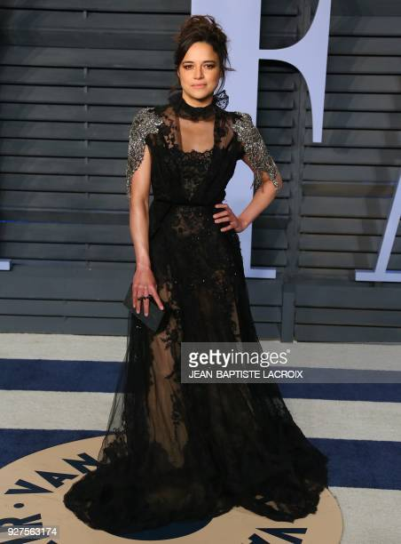 Michelle Rodriguez attends the 2018 Vanity Fair Oscar Party following the 90th Academy Awards at The Wallis Annenberg Center for the Performing Arts...
