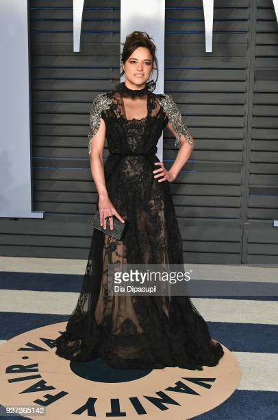 Michelle Rodriguez attends the 2018 Vanity Fair Oscar Party hosted by Radhika Jones at Wallis Annenberg Center for the Performing Arts on March 4...