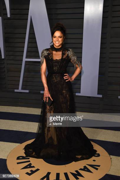 Michelle Rodriguez attends the 2018 Vanity Fair Oscar Party hosted by Radhika Jones at the Wallis Annenberg Center for the Performing Arts on March 4...