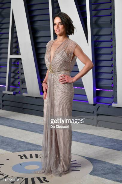 Michelle Rodriguez attends the 2019 Vanity Fair Oscar Party hosted by Radhika Jones at Wallis Annenberg Center for the Performing Arts on February 24...