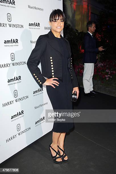 Michelle Rodriguez attends the amfAR dinner at the Pavillon LeDoyen during the Paris Fashion Week Haute Couture on July 5 2015 in Paris France