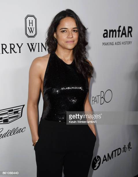 Michelle Rodriguez attends the amfAR Gala Los Angeles 2017 at Ron Burkle's Green Acres Estate on October 13 2017 in Beverly Hills California