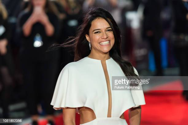 Michelle Rodriguez attends the European film premiere of 'Widows' at Cineworld Leicester Square during the 62nd BFI London Film Festival Opening...