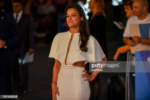 Michelle Rodriguez attends the European Premiere of 'Widows' and opening night gala of the 62nd BFI London Film Festival on October 10, 2018 in...