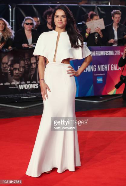 Michelle Rodriguez attends the European Premiere of Widows and opening night gala of the 62nd BFI London Film Festival on October 10 2018 in London...