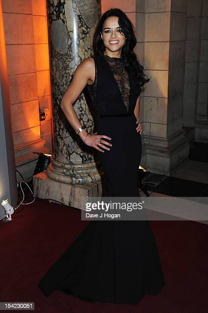 Michelle Rodriguez attends the Hollywood Costume gala dinner at The Victoria Albert Museum on October 16 2012 in London England