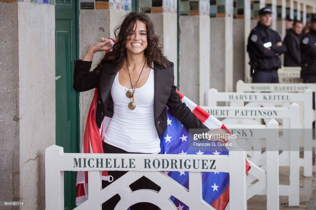 Michelle Rodriguez attends the naming ceremony of her dedicated beach cabana during the 43rd Deauville American Film Festival on September 8, 2017 in Deauville, France.