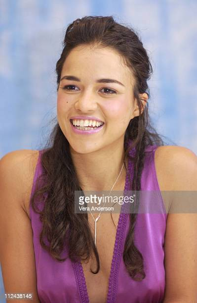 Michelle Rodriguez during 'SWAT' Press Conference with Colin Farrell Samuel L Jackson and Michelle Rodriguez at The Four Seasons Hotel in Beverly...