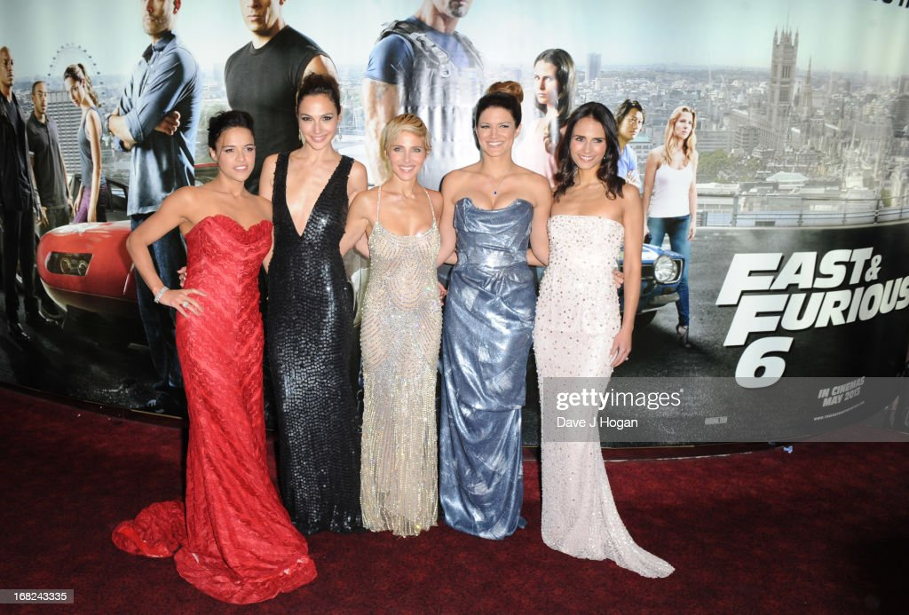 Michelle Rodriguez, Gal Gadot, Elsa Pataky, Gina Carano and Jordana Brewster attend the world premiere of 'Fast And Furious 6' at The Empire Leicester Square on May 7, 2013 in London, England.