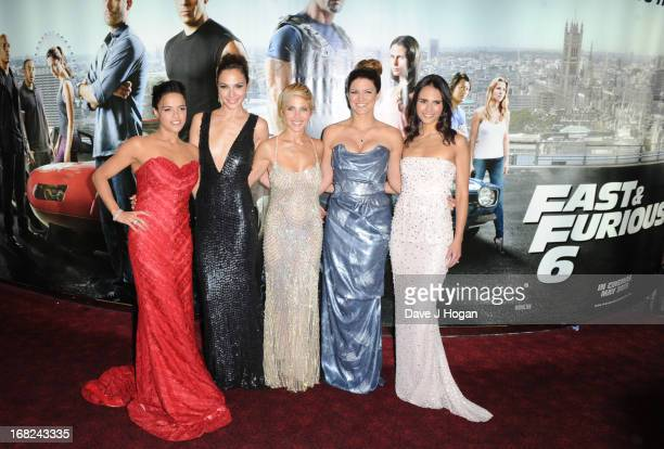 Michelle Rodriguez Gal Gadot Elsa Pataky Gina Carano and Jordana Brewster attend the world premiere of 'Fast And Furious 6' at The Empire Leicester...
