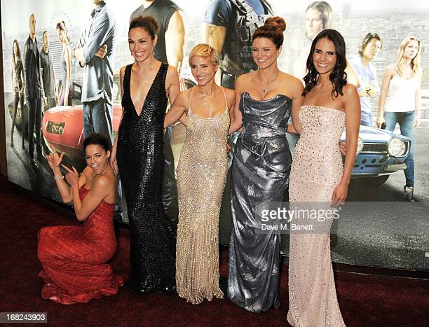 Michelle Rodriguez Gal Gadot Elsa Pataky Gina Carano and Jordana Brewster attend the World Premiere of 'Fast Furious 6' at Empire Leicester Square on...