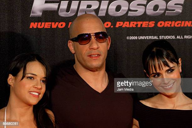 Michelle Rodriguez Vin Diesel and Jordana Brewster attends a Mexican premiere of 'Fast Furious' on the Cinemark Reforma Movie Theater on March 27...