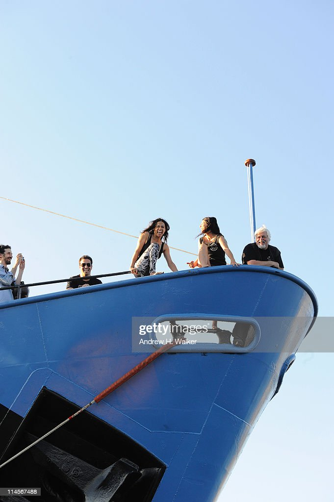 Michelle Rodriguez (C) visits The Sea Shepard's Steve Irwin Vessel during The 64th Annual Cannes Film Festival on May 20, 2011 in Cannes Harbor, France.