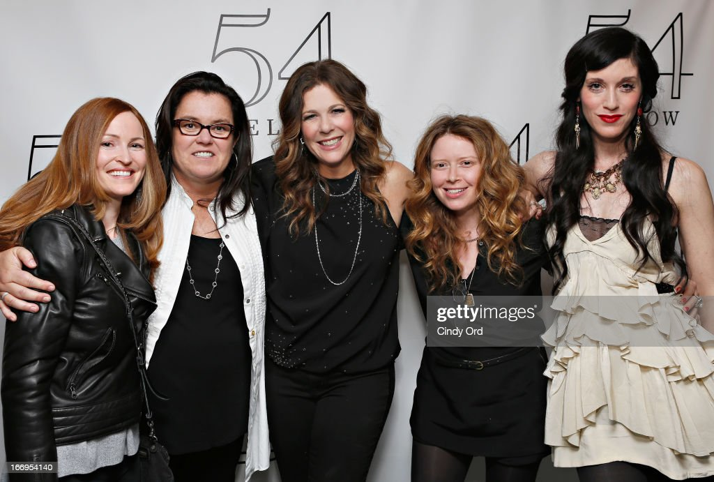 Michelle Rounds (L), actress/ comedian Rosie O'Donnell (2nd L), actress Natasha Lyonne (2nd R) and actress/ filmmaker Sarah Sophie Flicker pose with actress/ singer Rita Wilson (C) backstage following her performance at 54 Below on April 18, 2013 in New York City.