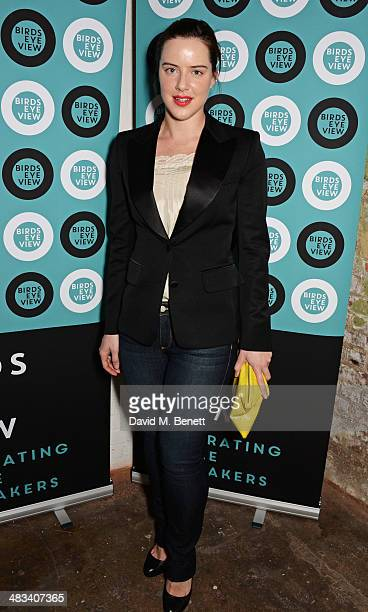 Michelle Ryan attends a drinks reception celebrating the Birds Eye View opening night gala screening of 'In Bloom' at Bargehouse on April 8 2014 in...