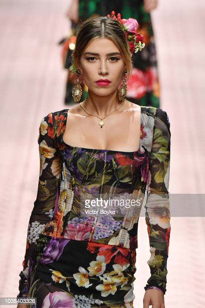 Michelle Salas walks the runway at the Dolce Gabbana show during Milan Fashion Week Spring/Summer 2019 on September 23 2018 in Milan Italy