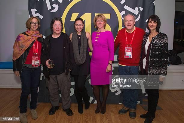 Michelle Satter, Christine Vachon, Veronica Ortiz-Calderon, Sharon Waxman, Cassian Elwes and Ruth Vitale attende the Horizon Award reception during...