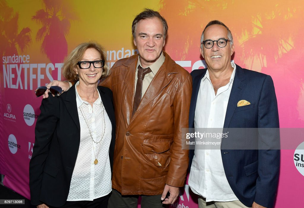Michelle Satter, Director of the Feature Film Program at Sundance Institute, Vanguard Award recipient Quentin Tarantino and John Cooper, Sundance Film Festival Director attend Sundance NEXT FEST After Dark at The Theater at The Ace Hotel on August 10, 2017 in Los Angeles, California.
