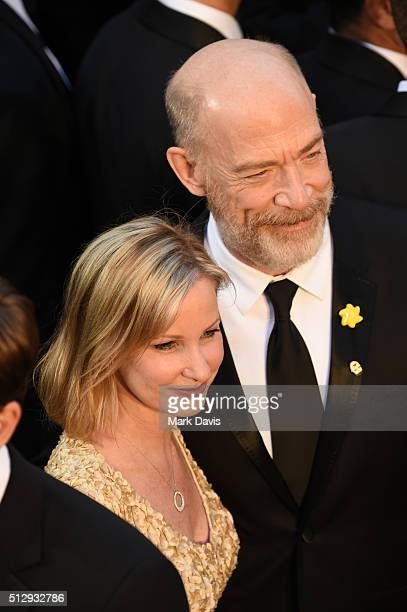Michelle Schumacher and actor J K Simmons attend the 88th Annual Academy Awards at Hollywood Highland Center on February 28 2016 in Hollywood...