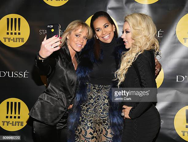 Michelle Seelinger Amber Sabathia and Chanel Fielder attend the TYLITE Launch Party at Wallplay Gallery on February 12 2016 in New York City