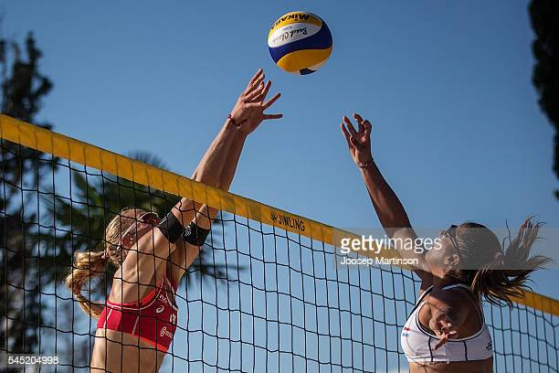 Michelle Sharon Valiente Amarilla of Paraguay vies with Michala Kvapilova of Czech Republic during FIVB World Continental Cup on July 6, 2016 in...