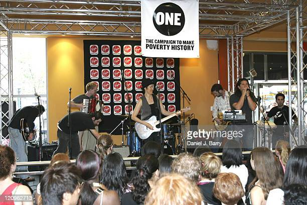 Michelle Shocked during Michelle Shocked performs at the ONE Campaign to Make Poverty History June 29 2005 at Virgin Megastore in New York New York...