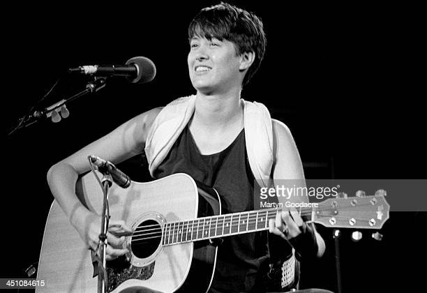 Michelle Shocked performs on stage at Cambridge Folk Festival United Kingdom 1990