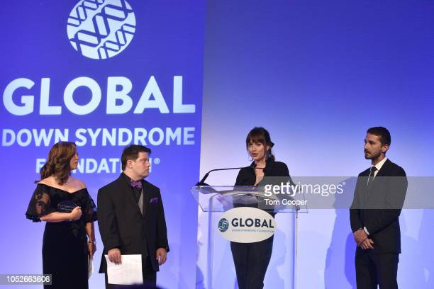 Michelle Sie Whitten Zack Gottsagen Dakota Johnson Shia LaBeouf at the Global Down Syndrome 10th anniversary BBBY fashion show at Sheraton Denver...