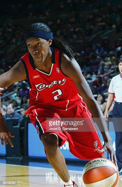 Michelle Snow of the Houston Comets drives the ball during the WNBA game against the New York Liberty at Madison Square Garden on May 18 2003 in New...