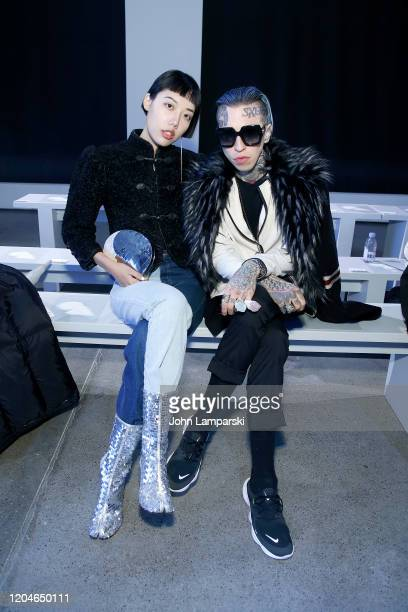 Michelle Song and Chris Lavish attend the Blancore fashion show during February 2020 New York Fashion Week The Shows at Gallery II at Spring Studios...
