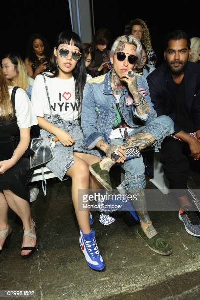 Michelle Song and Chris Lavish attend the F/FFFFFF Spring Summer 2019 fashion show during September 2018 New York Fashion Week The Shows at Industria...