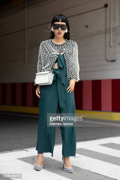 Michelle Song is seen on the street attending New York Fashion Week SS19 wearing Laurence and Chico on September 6 2018 in New York City
