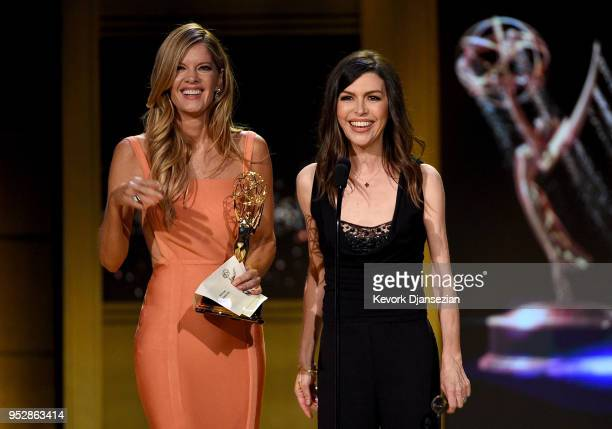 Michelle Stafford and Finola Hughes speak onstage during the 45th annual Daytime Emmy Awards at Pasadena Civic Auditorium on April 29 2018 in...