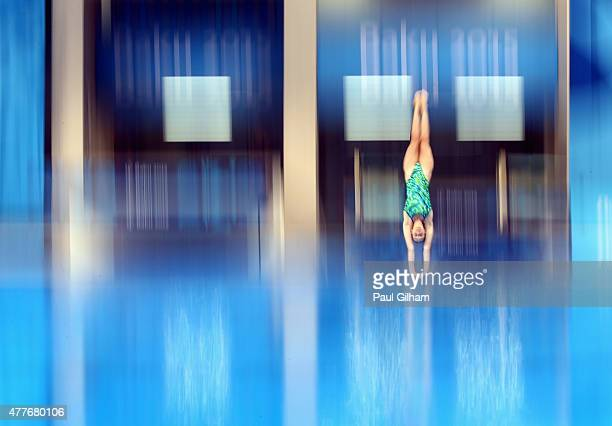 Michelle Staudenherz of Austria perfoms a back dive pike in the Women's 1m Springboard diving during day seven of the Baku 2015 European Games at the...