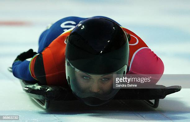 Michelle Steele of Australia competes in the Womens Skeleton Single Final on Day 6 of the 2006 Turin Winter Olympic Games on February 16 2006 in...