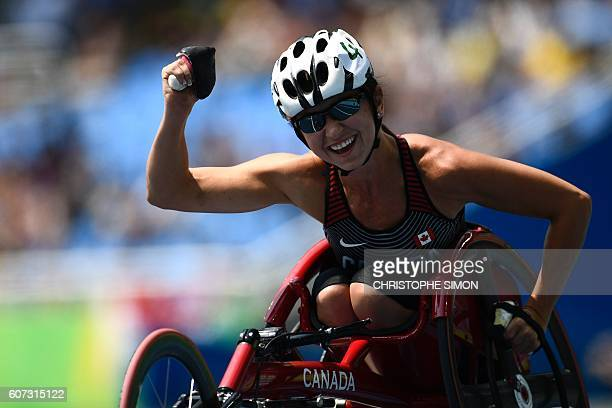 Michelle Stilwell of Canada celebrates after winning the 100M T52 wheelchair race at the Paralympic Games in Rio de Janeiro Brazil on September 17...