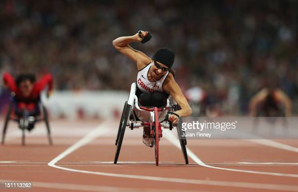 Michelle Stilwell of Canada celebrates winning gold in the Women's 200m T52 Final on day 3 of the London 2012 Paralympic Games at Olympic Stadium on...