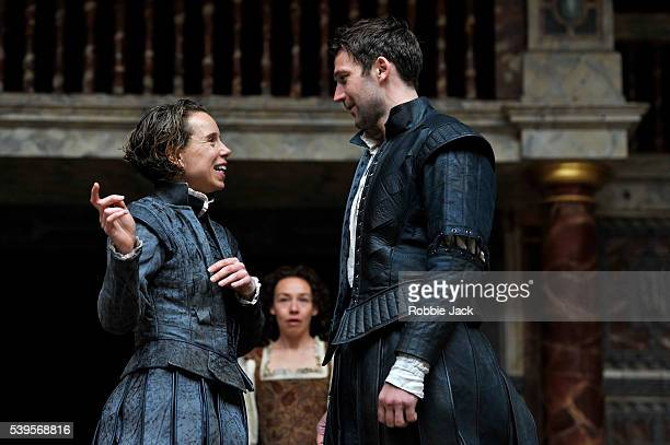Michelle Terry as Rosalind Ellie Piercy as Celia and Simon Harrison as Orlando in William Shakespeare's As You Like It directed by Blanche McIntyre...
