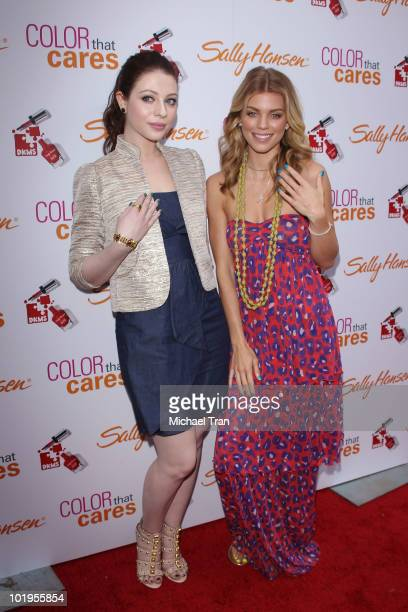 Michelle Trachtenberg and AnnaLynne McCord attend the Sally Hansen manicures charity event to benefit DKMS held at Hollywood Highland Courtyard on...