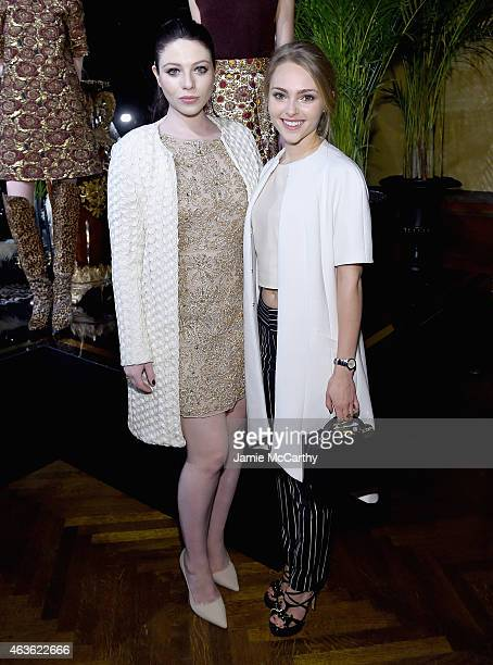 Michelle Trachtenberg and AnnaSophia Robb attend the Alice + Olivia presentation during Mercedes-Benz Fashion Week Fall 2015 on February 16, 2015 in...