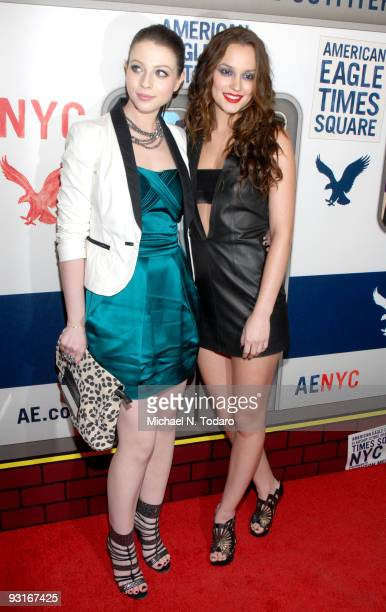 Michelle Trachtenberg and Leighton Meester attend the grand opening celebration of American Eagle Outfitters, Times Square on November 17, 2009 in...