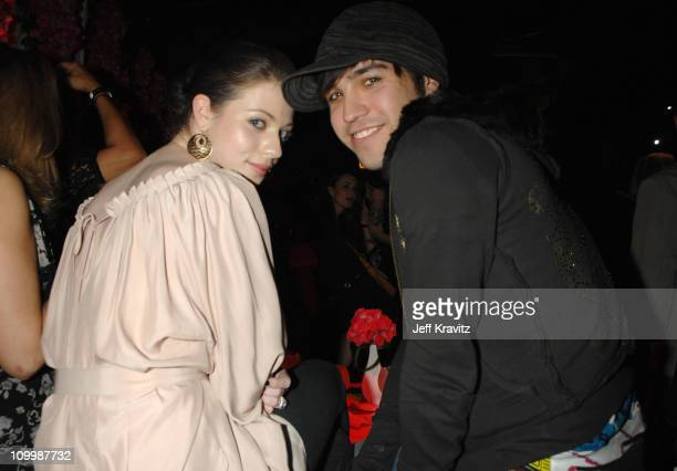 Michelle Trachtenberg and Pete Wentz during TMobile Launches Their Limited Editon Sidekicks Inside in Beverly Hills California United States