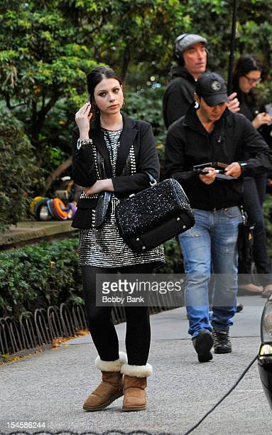 Michelle Trachtenberg filming on location for Gossip Girl on October 22 2012 in New York City