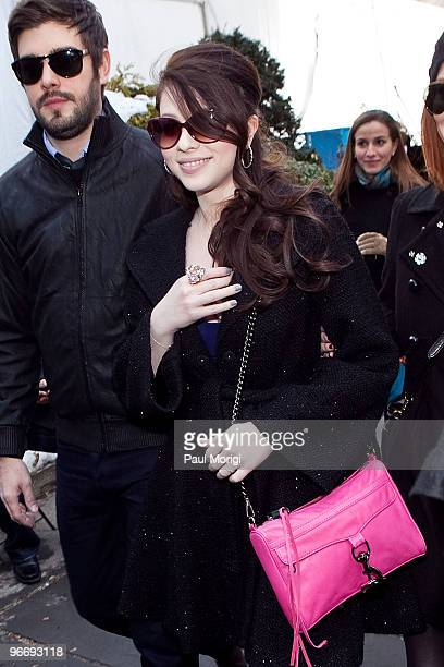 Michelle Trachtenberg is seen around Bryant Park during day 4 of MercedesBenz Fashion Week Fall 2010 at Bryant Park on February 14 2010 in New York...