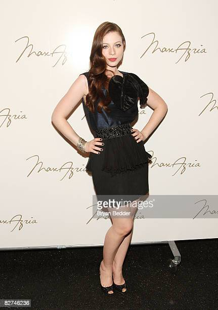 Michelle Trachtenberg poses backstage at the Max Azria Spring 2009 fashion show during MercedesBenz Fashion Week at The Tent Bryant Park on September...